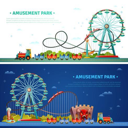 Banners horizontais de parque de diversões vetor