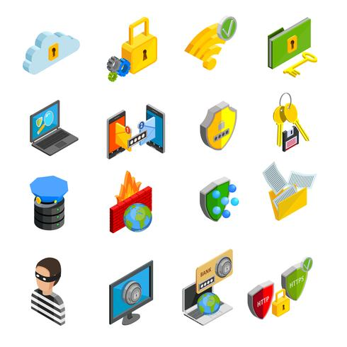 Conjunto de iconos isométricos de protección de datos vector