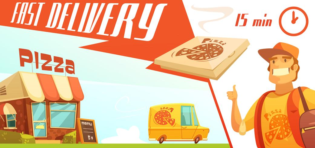 Fast Delivery of Pizza Design Concept vector