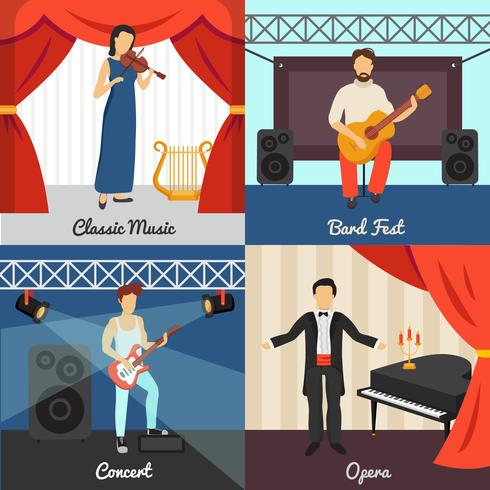 Theatre Concept Icons Set  vector