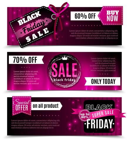 Banners horizontales de venta de viernes negro