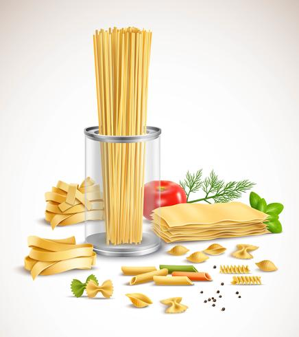 Dry Pasta Assortment Herbs Realistic Poster  vector