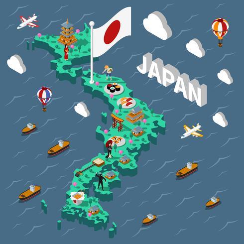Japan turistisk isometrisk karta