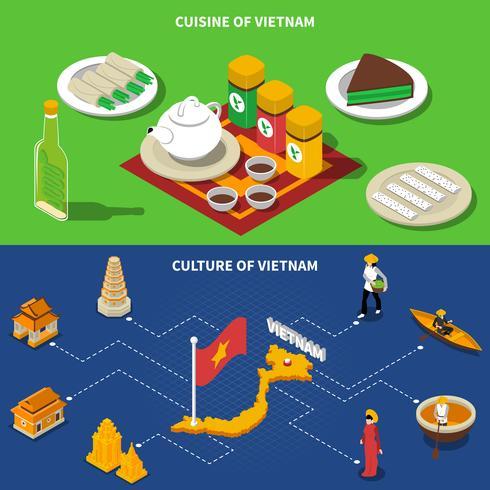 Vietnam Culture Touristique Isométrique 2 Bannières vecteur