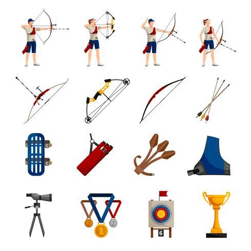 Conjunto de iconos planos de tiro con arco