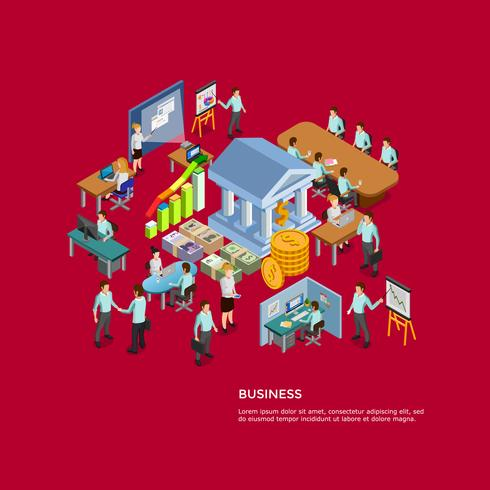 Isometric Business Concept Set vector