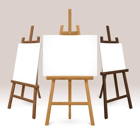 Wooden Easel Set vector