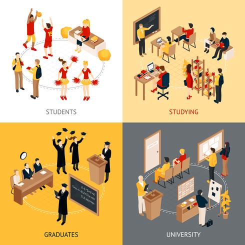 College en universiteit isometrische 2x2 Icons Set