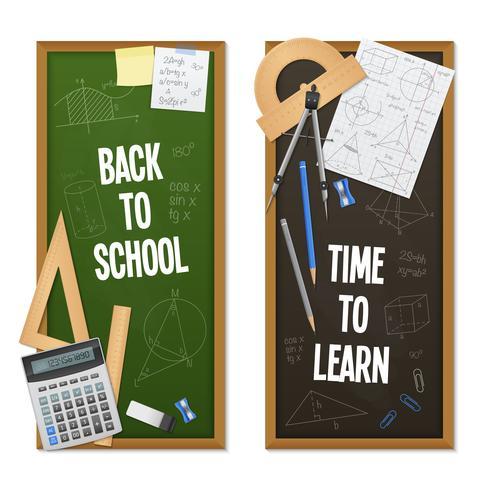 Banners verticales de ciencia matemática vector