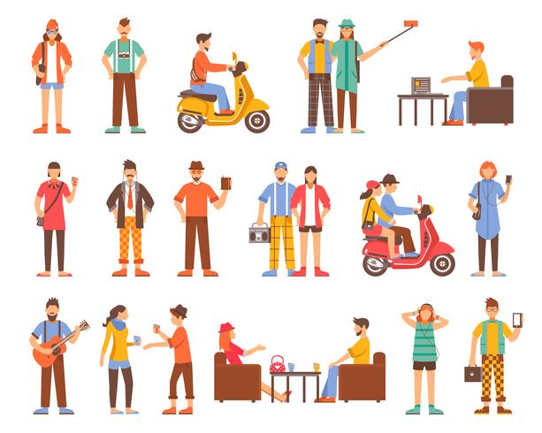Hipster People Decorative Icons Set vector