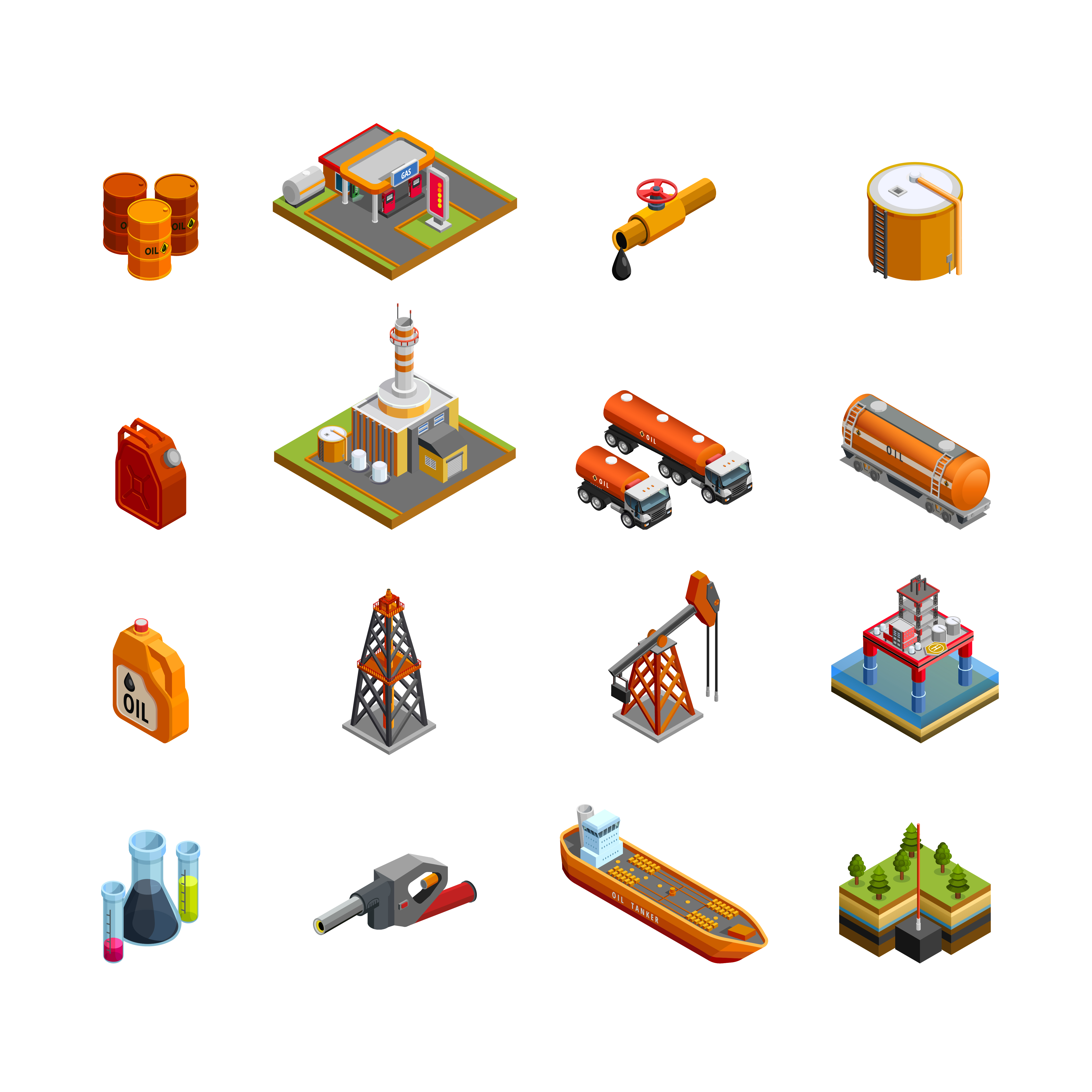 Oil Industry Isometric Icons Set - Download Free Vectors, Clipart Graphics & Vector Art