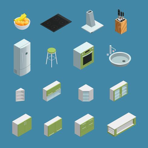 Elementos interiores de la cocina isométrica vector