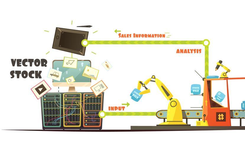 Schéma de bande dessinée du concept de travail du marché de Microstock