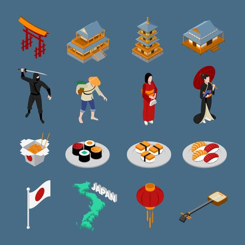 Japan isometrisk turistiska uppsättning vektor