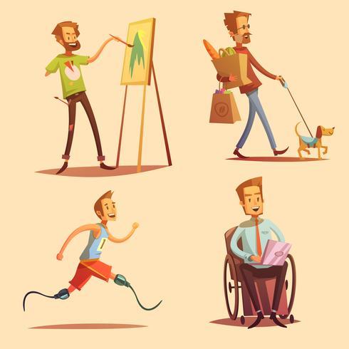 Personas con discapacidad Retro Cartoon 2x2 Icons Set