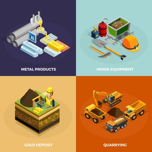 Mining Concept Isometric Icons Set  vector
