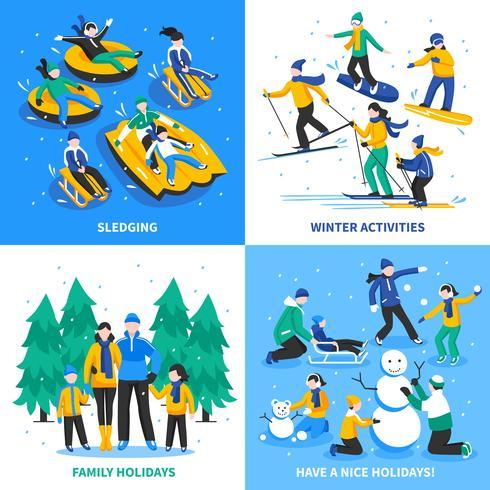Actividad de invierno 2x2 Design Concept vector