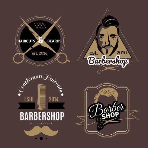 Set di emblemi del barbiere vettore