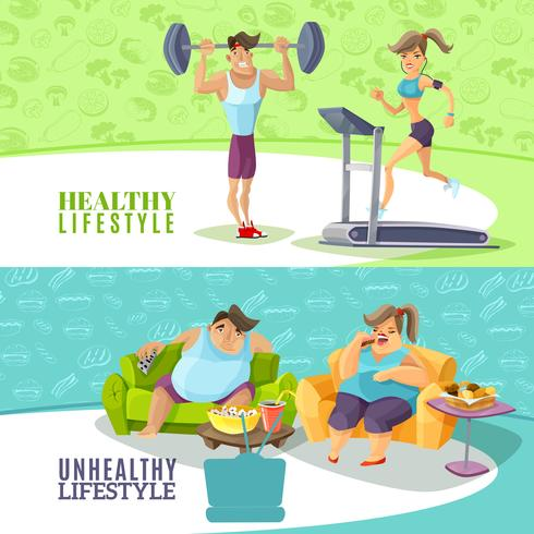 Healthy And Unhealthy People Horizontal Banners Set  vector