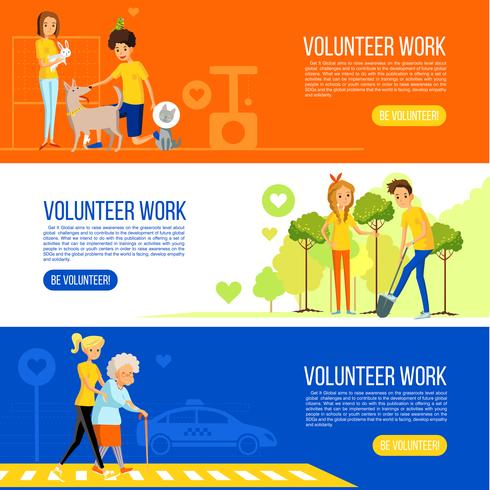 Volunteer people colored flat banner collection vector