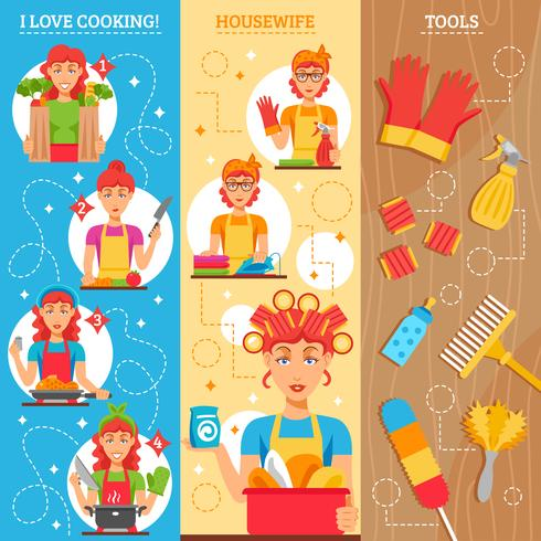 Housewife Vertical Banners vector