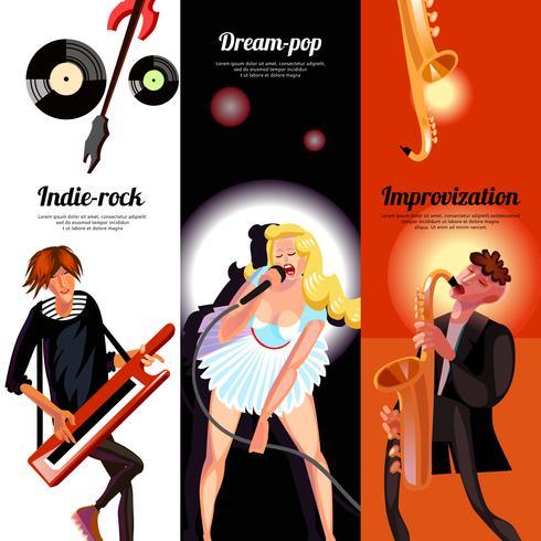 Banners verticales de concepto musical vector