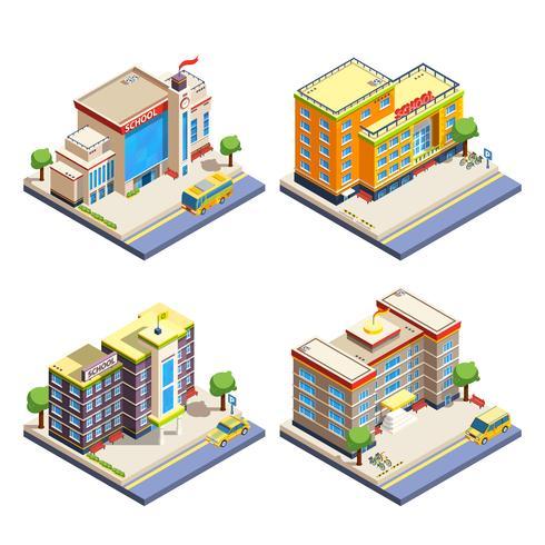 Schoolgebouwen isometrische pictogrammen instellen vector