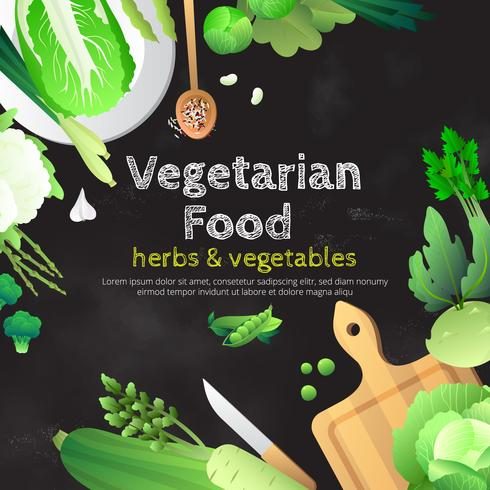 Cartaz verde orgânico do quadro das ervas dos legumes