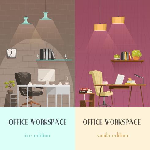 Office Interior Lighting 2 Cartoon Banners  vector