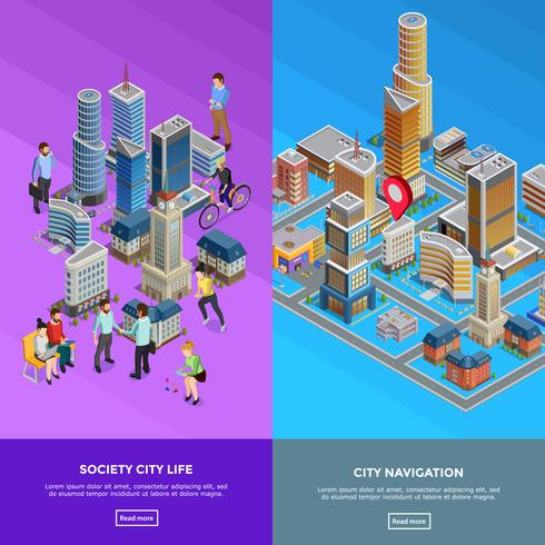 Isometrische stadsbanners