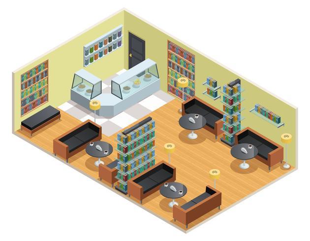 Biblioteca isométrica ilustración