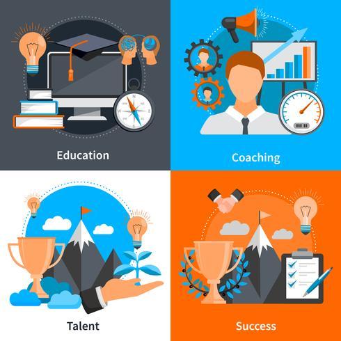 Set di icone di Coaching Concept 2x2 di mentoring