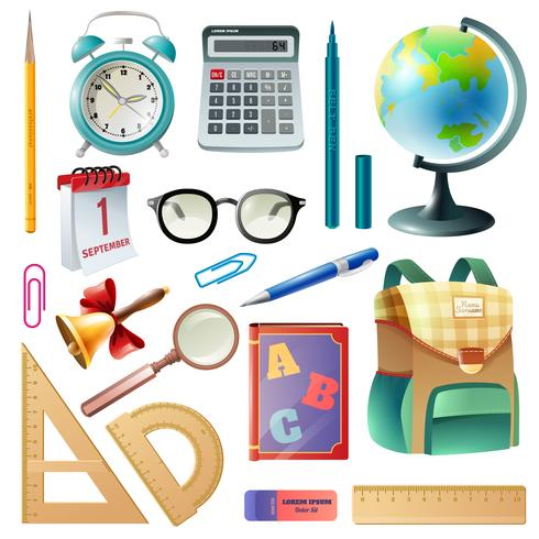 School Supplies Realistic Icons Collection vektor