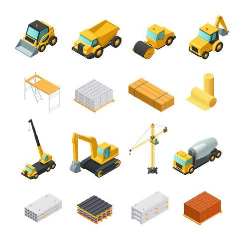 Isometric Construction Icons Set