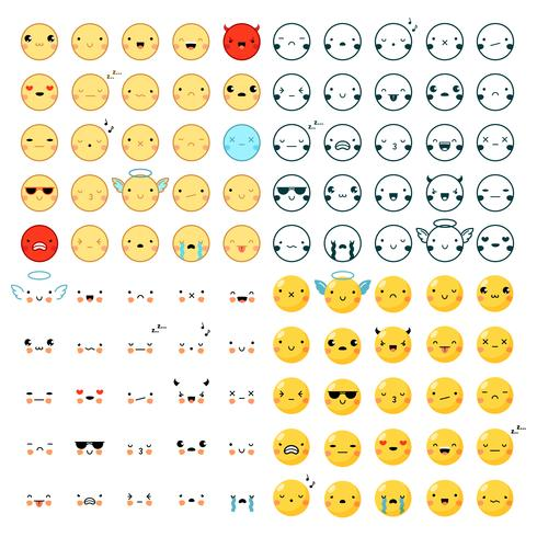 Emoticons Big Set vector