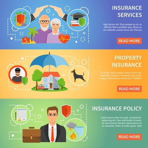Servicio de seguros 3 Conjunto de Banners Planos. vector