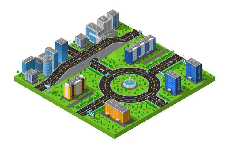 Poster di composizione stradale città isometrica