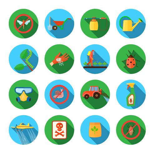 Pesticides Round Icons Set
