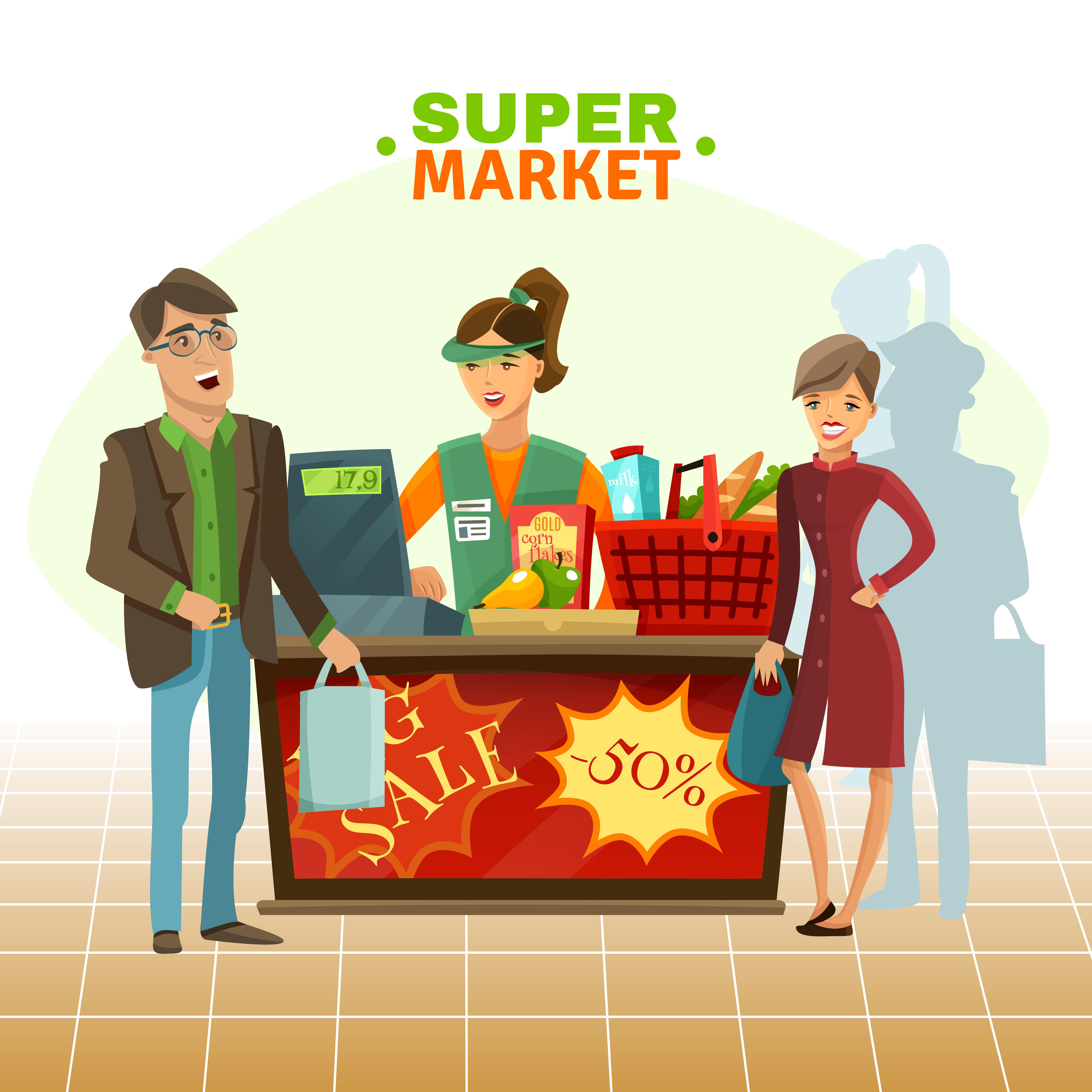 Cashier Cartoons: Supermarket Cashier Cartoon Illustration