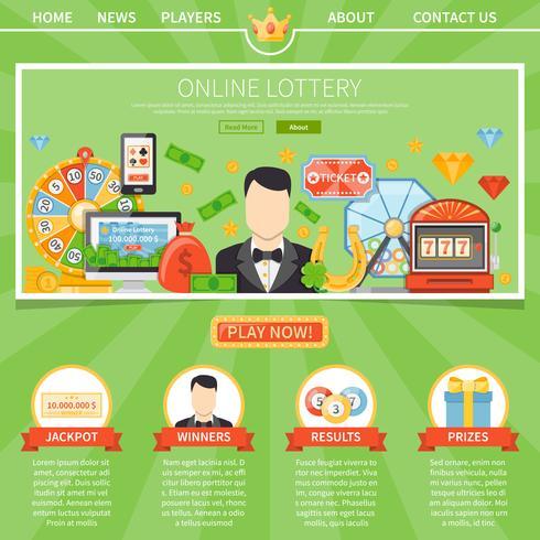 Loterij en Jackpot één paginasjabloon vector