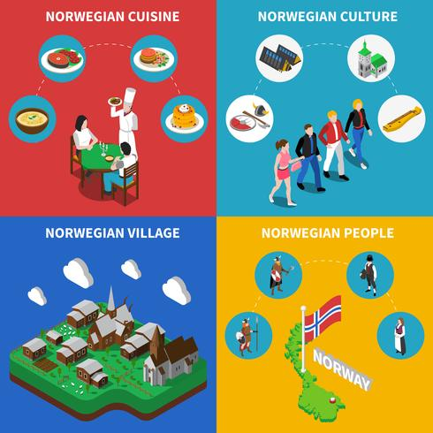 NorwayTravel Isometric 4 Icons Square vecteur