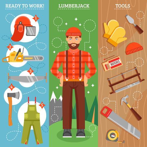 Arbete av Lumberjack Vertikal Banners Set