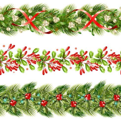 Christmas Berry Border Seamless Pattern Set