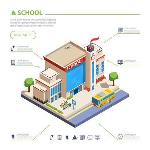 Schoolgebouw ontwerp illustratie