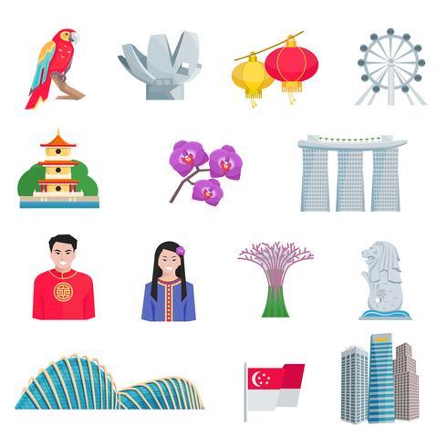 ensemble d'icônes plat culture singapour