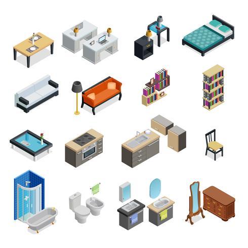 Conjunto de objetos isométricos interiores