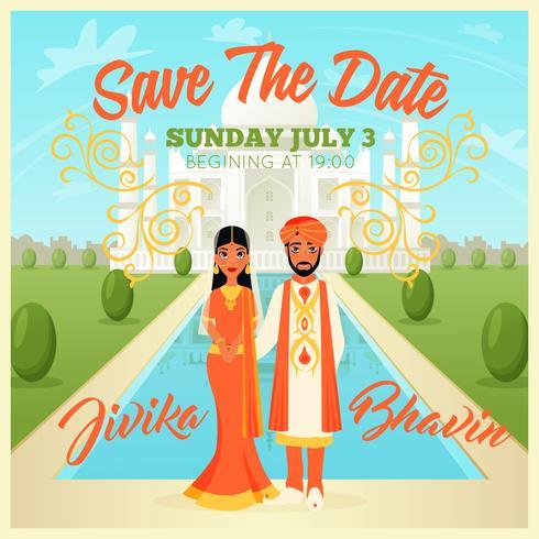 Poster di coppia di sposi indiani vettore