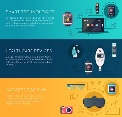 Ensemble de bannières plates gadgets technologiques portables