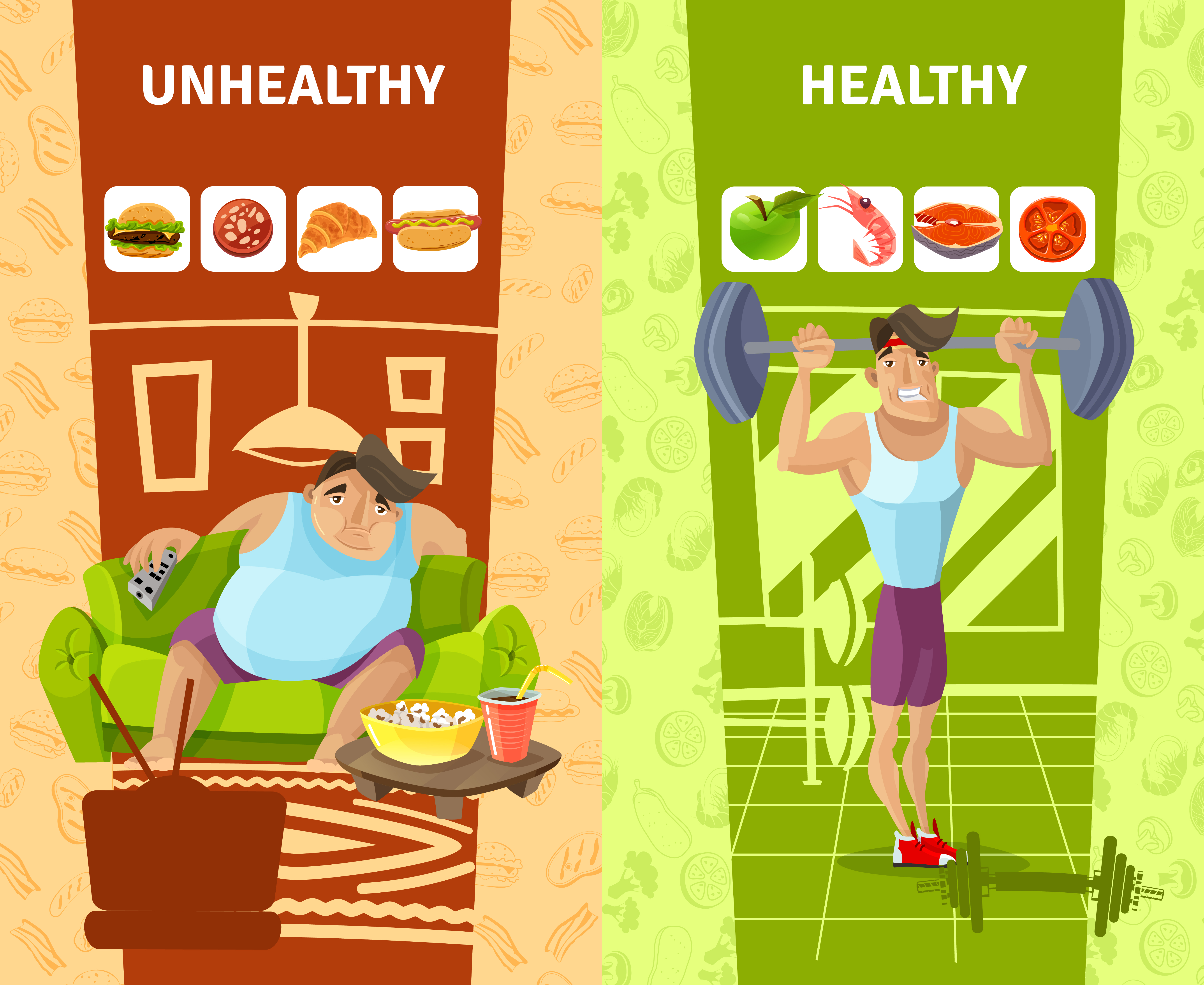 Trendy Healthy Unhealthy Lifestyle Icons Sport Stock ... |Unhealthy Lifestyle Icon