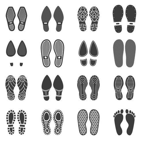 Icônes d'empreinte de chaussures